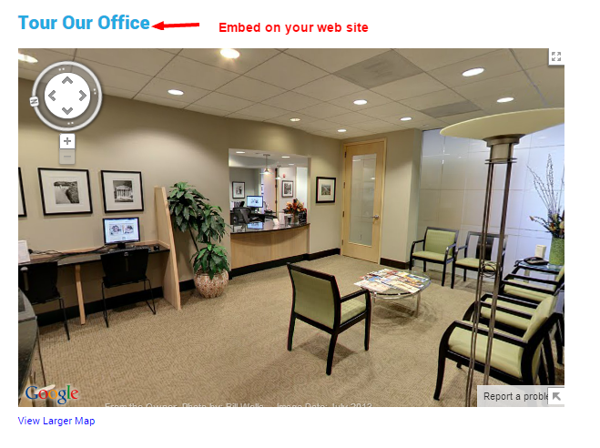 Google virtual tour embedded on web site